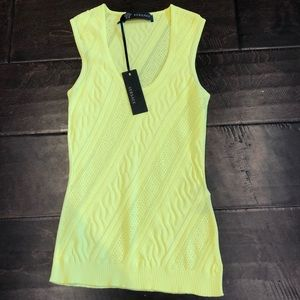 Versace jersey top in bright yellow v neck NWT